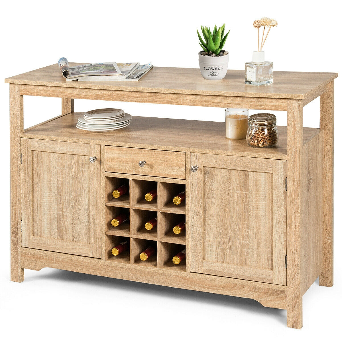 HOMECHO Wine Bar Storage Cabinet Wood Kitchen Buffet Server with 20-Bottle Display Rack Holder and Glass Hooks White Liquor Cupboard Sideboard Table Modern Dining Room Furniture