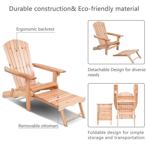 Style B with footrest COSTWAY Adirondack Chair Foldable Wood Seat Furniture Deck Lawn Garden Patio Outdoor